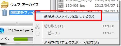 削除済みファイルを空にする